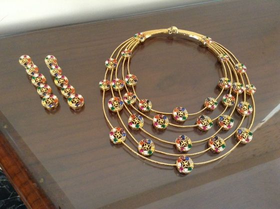 Multi level Navratan necklace set